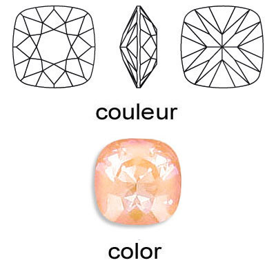 Crystal Swarovski 4470, Square Fancy Stone. Crystal Peach DeLight color. 10mm size.