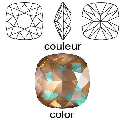 Crystal Swarovski 4470, Square Fancy Stone. Crystal Cappuccino DeLight color. 12mm size.