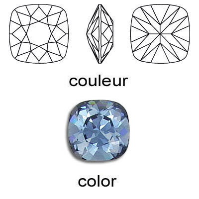 Crystal Swarovski 4470, Square Fancy Stone. Denim color. 12mm size.
