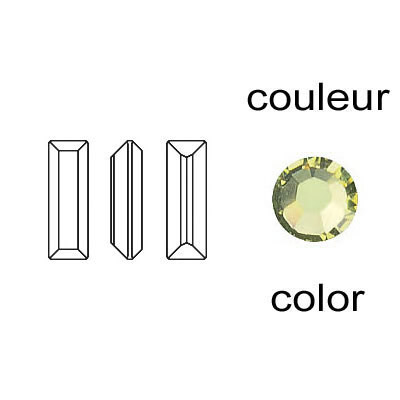 Crystal Swarovski 4500, Baguette Fancy Stone. Jonquil color. 6x2mm size.
