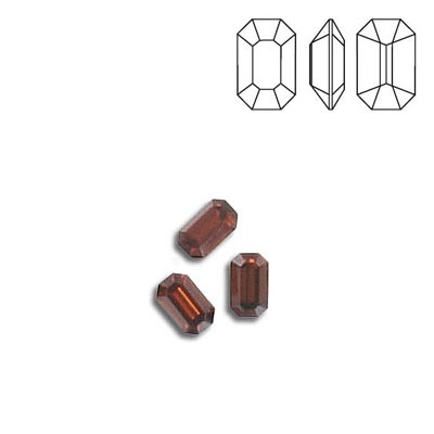 Crystal Swarovski 4600, Octagon Fancy Stone. Smoked Topaz color. 5x3mm size.
