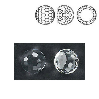 Preciosa machine cut fancy crystal, faceted ball, crystal color, 10mm size