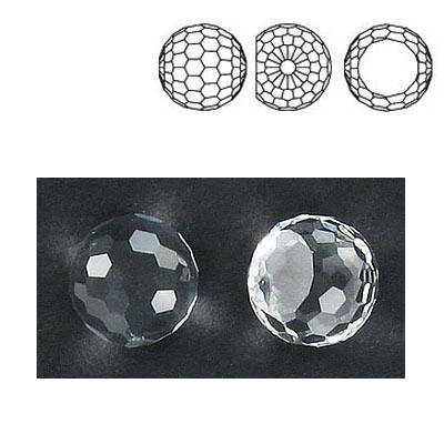 Preciosa machine cut fancy crystal, faceted ball, crystal color, 12mm size