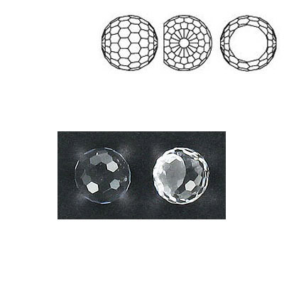 Preciosa machine cut fancy crystal, faceted ball, crystal color, 8mm size