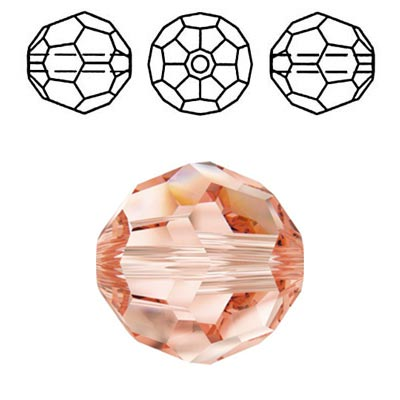 Crystal Swarovski 5000, round faceted bead. Rose Peach color. 4mm size.