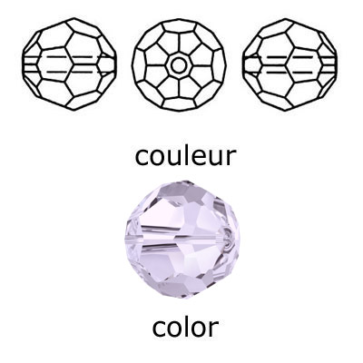 Crystal Swarovski 5000, round faceted bead. Smoky Mauve color. 4mm size.