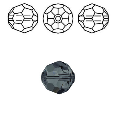 Crystal Swarovski 5000, round faceted bead. Graphite color. 4mm size.