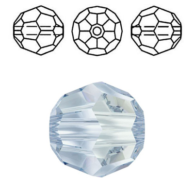 Crystal Swarovski 5000, round faceted bead. Crystal Blue Shade coating. 4mm size.