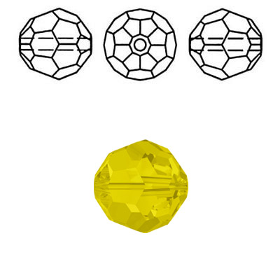 Crystal Swarovski 5000, round faceted bead. Yellow Opal color. 6mm size.