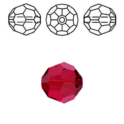 Crystal Swarovski 5000, round faceted bead. Scarlet color. 6mm size.