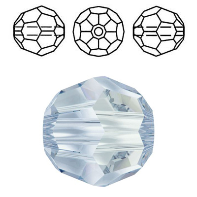 Crystal Swarovski 5000, round faceted bead. Crystal Blue Shade coating. 6mm size.