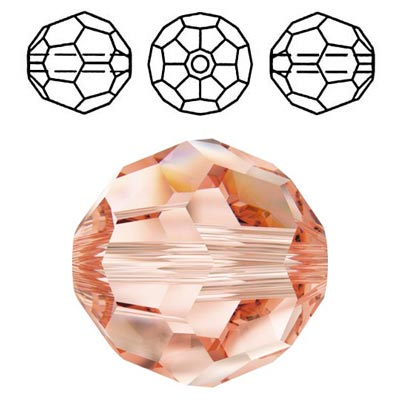 Crystal Swarovski 5000, round faceted bead. Rose Peach color. 8mm size.