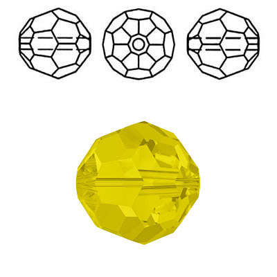 Crystal Swarovski 5000, round faceted bead. Yellow Opal color. 8mm size.