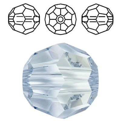Crystal Swarovski 5000, round faceted bead. Crystal Blue Shade coating. 8mm size.