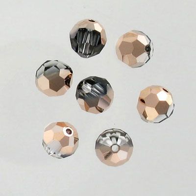 Crystal Swarovski 5000, round faceted bead. Crystal Rose Gold coating. 8mm size.
