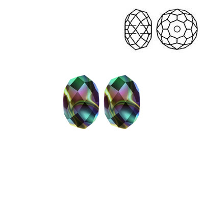 Crystal Swarovski 5040, Briolette Bead. Crystal Rainbow Dark 2X coating. 8mm size.