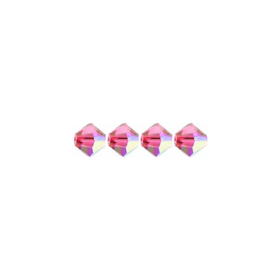Crystal Swarovski 5328(5301), Faceted Bicone Bead. AB Indian Pink coating. 4mm size