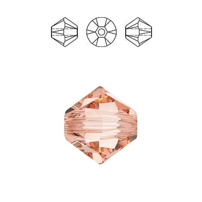 Crystal Swarovski 5328(5301), Faceted Bicone Bead. Rose Peach color. 3mm size.