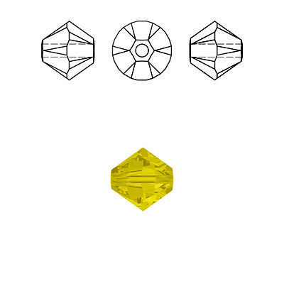 Crystal Swarovski 5328(5301), Faceted Bicone Bead. Yellow Opal color. 3mm size.