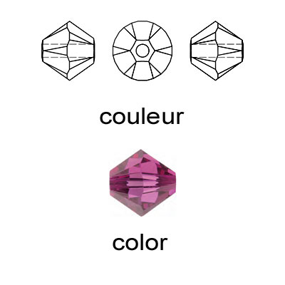 Crystal Swarovski 5328(5301), Faceted Bicone Bead. Fuchsia color. 3mm size.