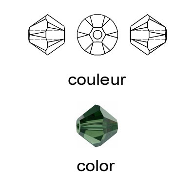 Crystal Swarovski 5328(5301), Faceted Bicone Bead. Green Tourmaline color. 3mm size.