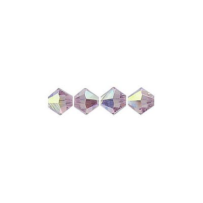 Crystal Swarovski 5328(5301), Faceted Bicone Bead. AB Light Amethyst coating. 3mm size.