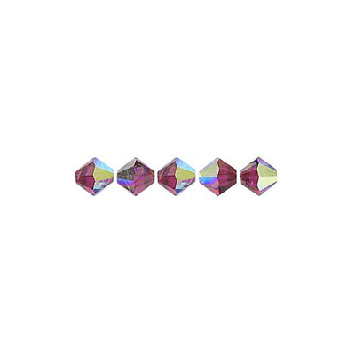 Crystal Swarovski 5328(5301), Faceted Bicone Bead. AB Ruby coating. 3mm size.