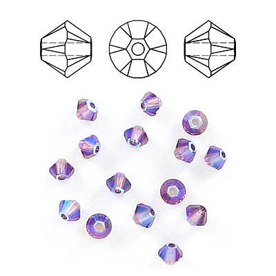 Crystal Swarovski 5328(5301), Faceted Bicone Bead. Amethyst Shimmer 2X coating. 3mm size.