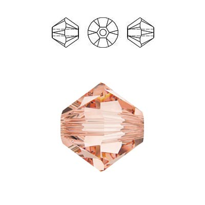 Crystal Swarovski 5328(5301), Faceted Bicone Bead. Rose Peach color. 4mm size.