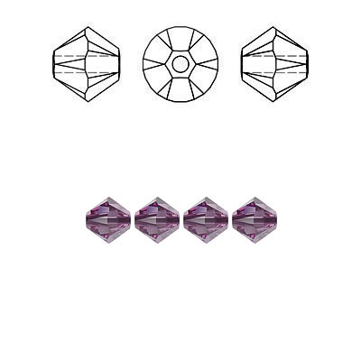Crystal Swarovski 5328(5301), Faceted Bicone Bead. Iris color. 4mm size.