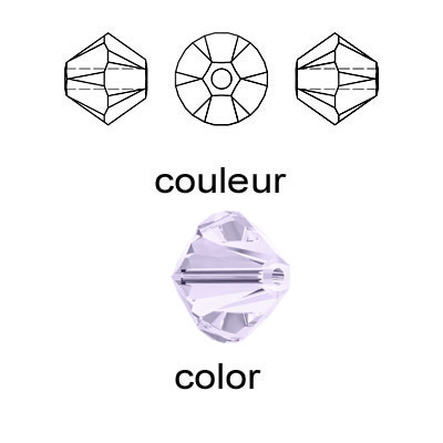 Crystal Swarovski 5328(5301), Faceted Bicone Bead. Smoky Mauve color. 4mm size.