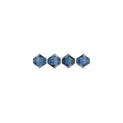 Crystal Swarovski 5328(5301), Faceted Bicone Bead. Montana color. 4mm size