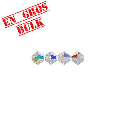 Crystal Swarovski 5328(5301), Faceted Bicone Bead. AB Crystal coating. 4mm size