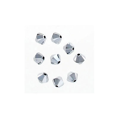 Crystal Swarovski 5328(5301), Faceted Bicone Bead. Crystal Light Chrome 2X coating. 4mm size.