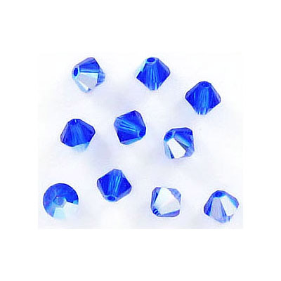 Crystal Swarovski 5328(5301), Faceted Bicone Bead. Majestic Blue AB coating. 4mm size.