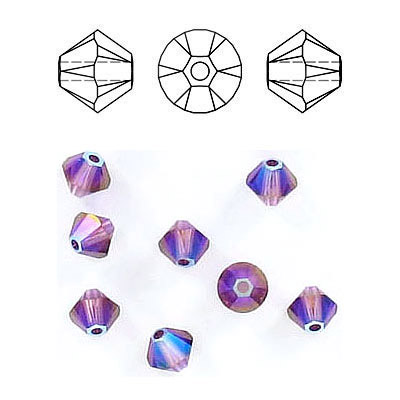Crystal Swarovski 5328(5301), Faceted Bicone Bead. Amethyst Shimmer 2X coating. 4mm size.