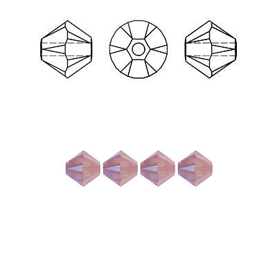 Crystal Swarovski 5328(5301), Faceted Bicone Bead. Rose Water Opal Shimmer coating. 4mm size.