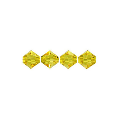 Crystal Swarovski 5328(5301), Faceted Bicone Bead. Light Topaz color. 5mm size