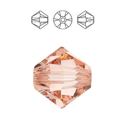 Crystal Swarovski 5328(5301), Faceted Bicone Bead. Rose Peach color. 6mm size.