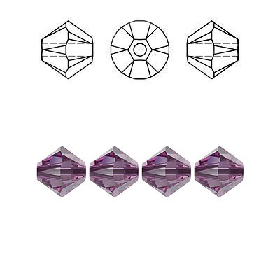 Crystal Swarovski 5328(5301), Faceted Bicone Bead. Iris color. 6mm size.