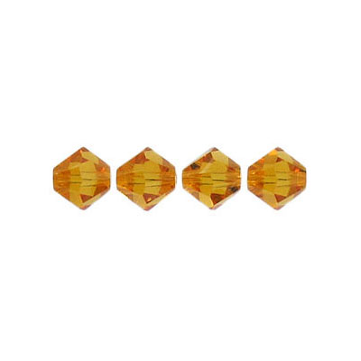 Crystal Swarovski 5328(5301), Faceted Bicone Bead. Topaz color. 6mm size. Sold per pack of 144. (SKU# 5328/6MM/227)