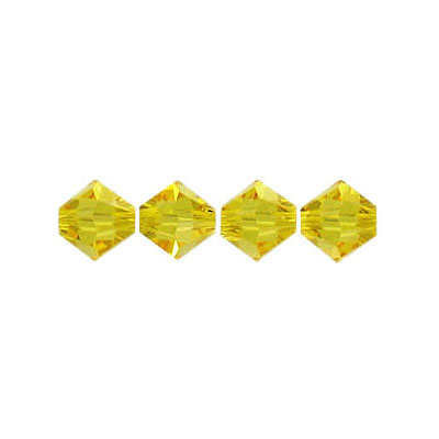 Crystal Swarovski 5328(5301), Faceted Bicone Bead. Light Topaz color. 6mm size. Sold per pack of 144. (SKU# 5328/6MM/230