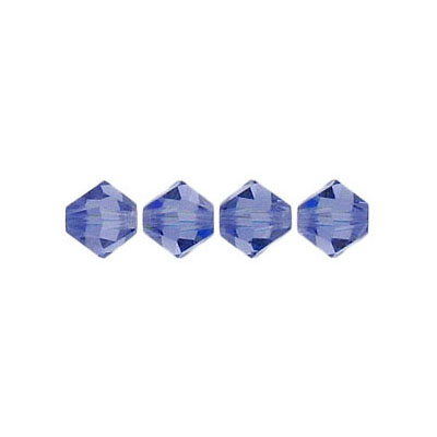 Crystal Swarovski 5328(5301), Faceted Bicone Bead. Tanzanite color. 6mm size. Sold per pack of 144. (SKU# 5328/6MM/246)
