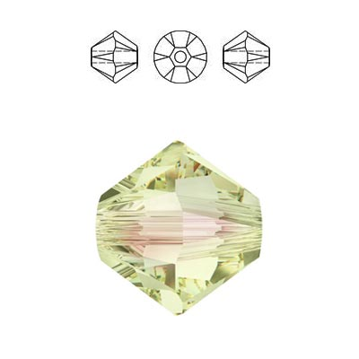 Crystal Swarovski 5328(5301), Faceted Bicone Bead. Luminous Green coating. 6mm size.