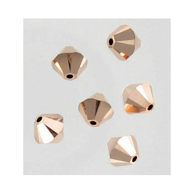 Crystal Swarovski 5328(5301), Faceted Bicone Bead. Crystal Rose Gold 2X coating. 6mm size.