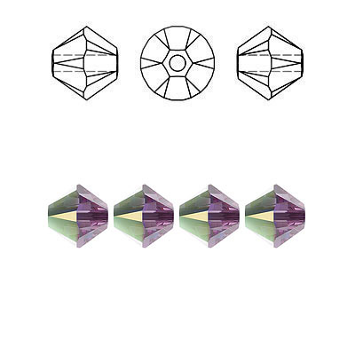 Crystal Swarovski 5328(5301), Faceted Bicone Bead. AB Iris coating. 6mm size.