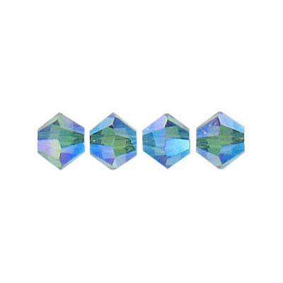Crystal Swarovski 5328(5301), Faceted Bicone Bead. AB Indicolite 2X coating. 6mm size.