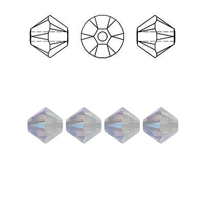 Crystal Swarovski 5328(5301), Faceted Bicone Bead. White Opal Shimmer coating. 6mm size.