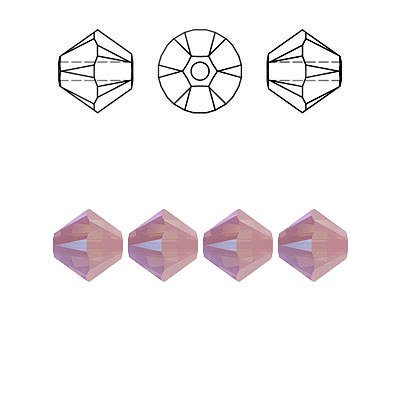 Crystal Swarovski 5328(5301), Faceted Bicone Bead. Rose Water Opal Shimmer coating. 6mm size.