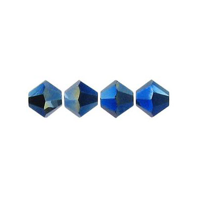 Crystal Swarovski 5328(5301), Faceted Bicone Bead. Crystal Metallic Blue 2X coating. 8mm size.